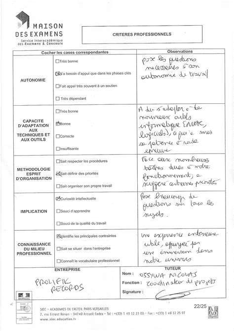 Appréciations / Attestations | CV Thomas Chevalier