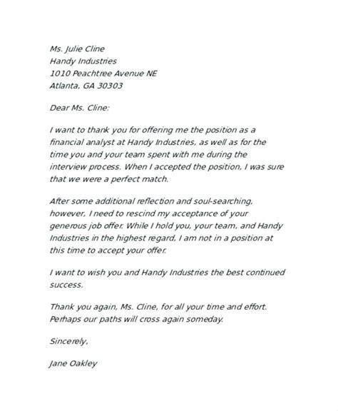 rescind letter job offer withdrawal letter employer