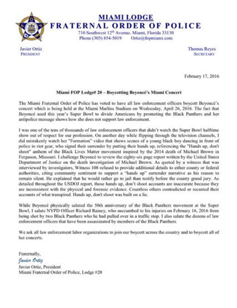 Enforcement Letterhead The Miami Fraternal Order Of Says They Will Boycott Beyonce S Concert