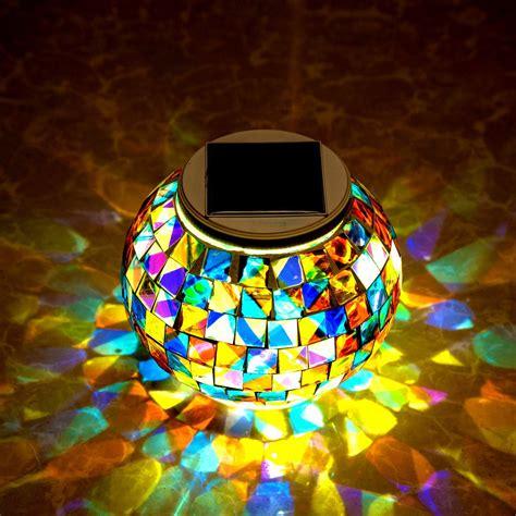 light for tuin garden solar power mosaic glass ball colorful led light