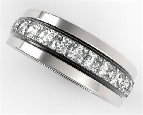 Wedding Bands With Princess Cut Diamonds by Mens Wedding Band 14k Black And White Gold Princess Cut