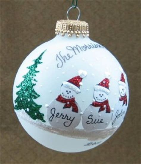 personalized snowman family glass christmas ornament ebay