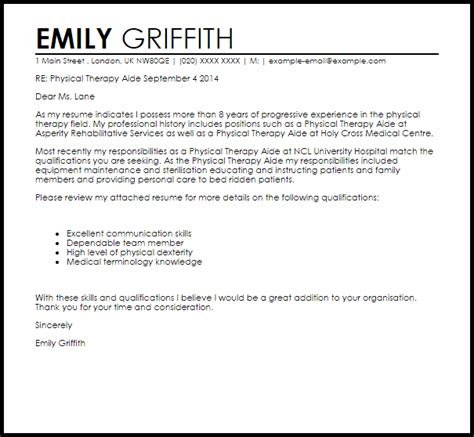 Physical Therapy Aide Cover Letter Sample   LiveCareer