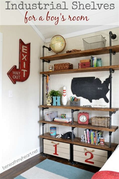 shelves for boys bedroom industrial shelves in boys room design dazzle