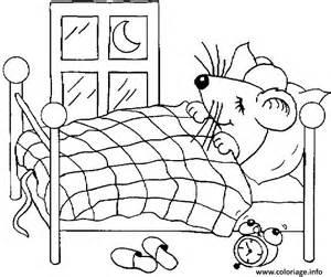 coloriage une souris dans lit dessin