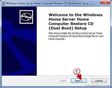 how to create a windows home server computer restore cd