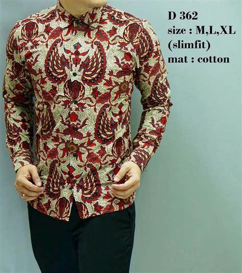 D 562 Baju Batik Kemeja Pria Slim Fit Lengan Panjang Keren jual kemeja batik pria d 362 baju batik pria