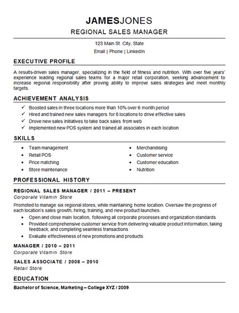Resume Profile Exles Sales Regional Sales Manager Resume Exle Nutrition Fitness
