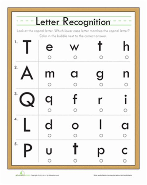 printable alphabet test kindergarten letter quiz worksheet education com