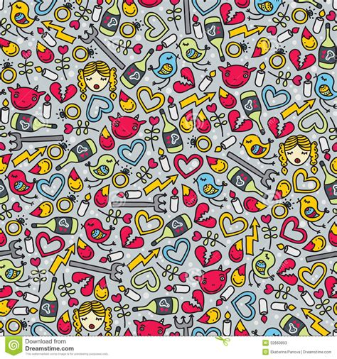 yellow devil pattern romantic seamless pattern with devil stock photos image