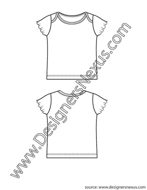 T Shirt Flat Sketches by Childrens Newborn Infant Shoulder T Shirt V2