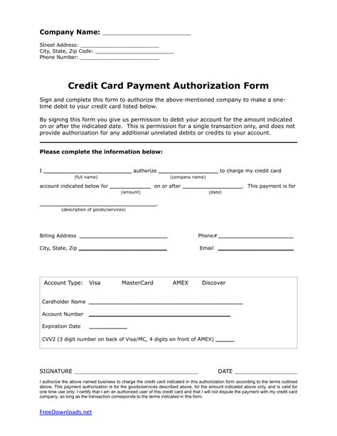 Credit Card Template Pdf One 1 Time Credit Card Authorization Payment Form Pdf Rtf Word Anything