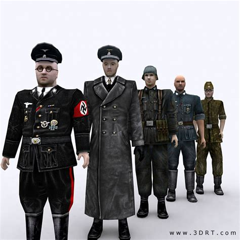 wwii german ss soldiers 3drt ww2 german soldiers pack