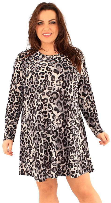 size 16 swing dress new ladies plus size animal floral printed long sleeve
