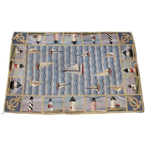 nautical hooked rugs pictorial hooked nautical room size rug for sale at 1stdibs