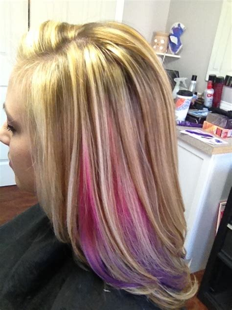 puple with blonde highlights pink and purple peek a boo with blonde highlights hair