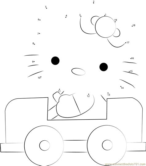 hello kitty car coloring pages hello kitty driving a car hello kitty dot to dot