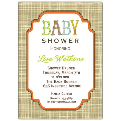 unisex baby showers letter unisex baby shower invitations paperstyle