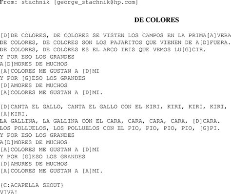 de colores lyrics de colores christian gospel song lyrics and chords