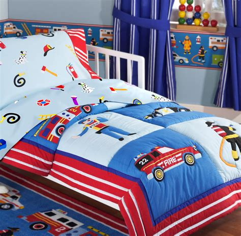 Rescue Heroes Fire Truck Police Car Toddler Crib Bedding 4pc Comforter Sheet Set Blue Red
