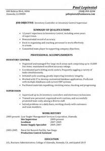 resume sample inventory control supervisor