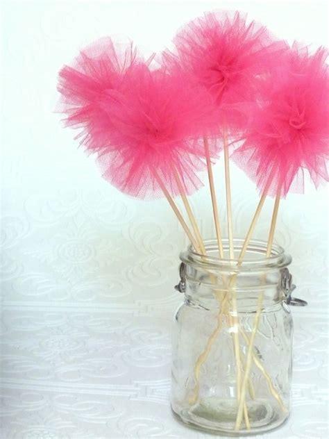 flores de tul flores o ramos de pompones de tul en palitos decorativos