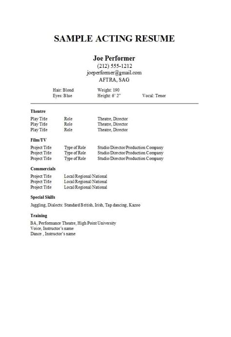 acting resume templates word google docs