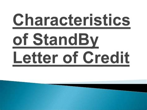 Letter Of Credit Meaning Ppt Meaning Of Stand By Letter Of Credit And Its Characteristics