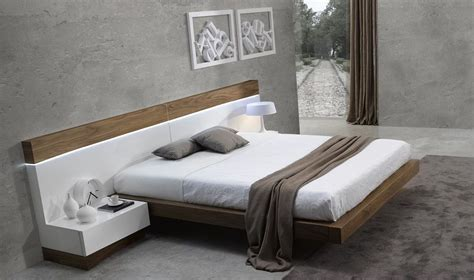 Floating Headboard King Details About Spain Made Ultra Modern White And Walnut Floating Platform Bed King More