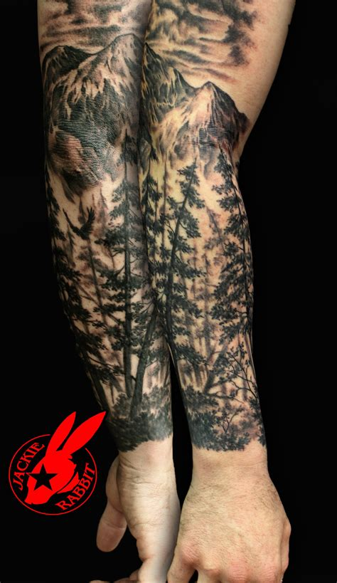 mountain tattoo sleeve forest sleeve on leg tattoos