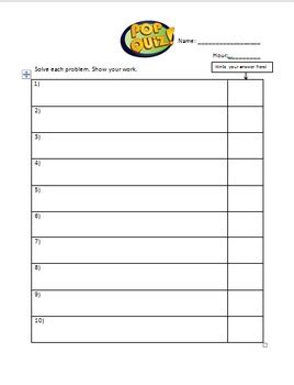 template of quiz pop quiz template by kb s store of math and more tpt