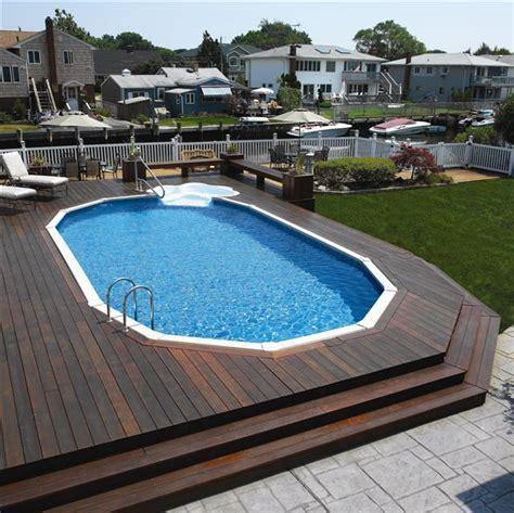 Inground Pool Decks Best 25 Semi Inground Pools Ideas On Semi
