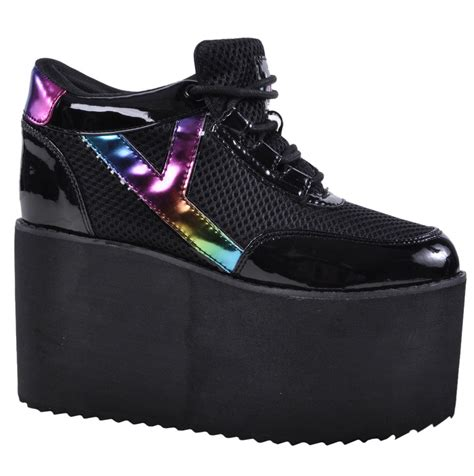 Trend Platform Shoes Bglam by Yru Platform Patent Leather Rainbow Pride Gaga