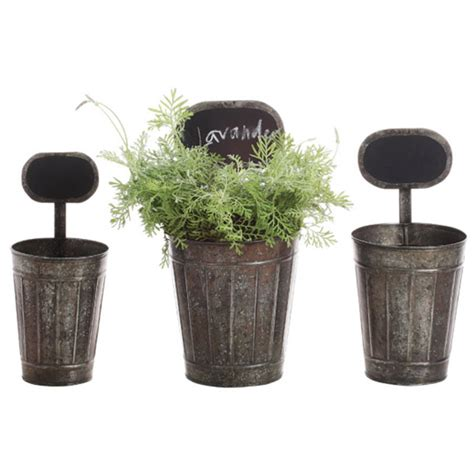 creative co op tin planters with chalkboard vintage home