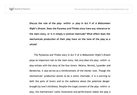 Midsummer Nights Essay by A Midsummer S Play Within A Play Gcse Marked By Teachers