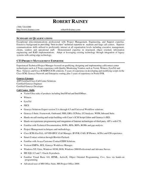 Resume Exles For Skills Summary Project Management Expertise Resume Summary Of Qualifications Cti Management
