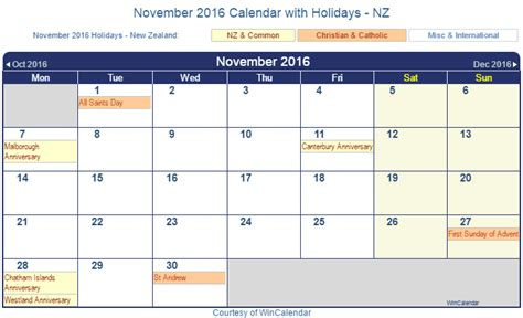 printable calendar new zealand 2016 print friendly november 2016 new zealand calendar for printing
