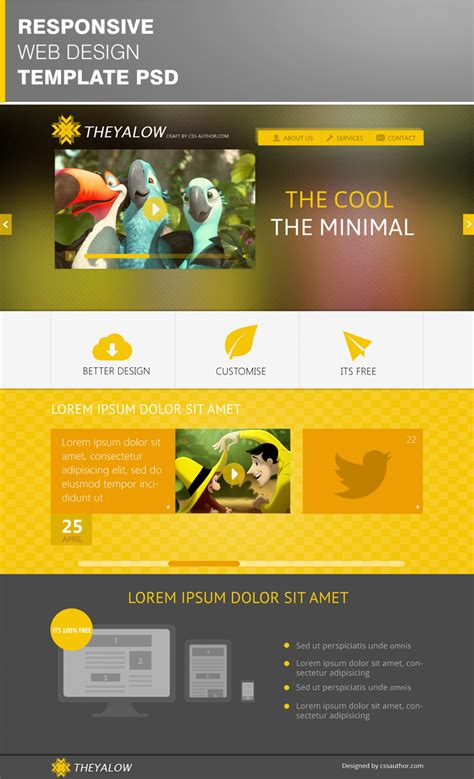 design free download psd theyalow a responsive web design template psd for free