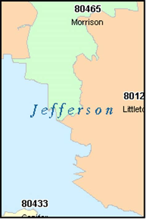 zip code map jefferson county colorado jefferson county colorado digital zip code map