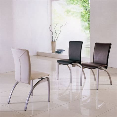 Dining Room Chairs Modern Modern Dining Chair In Black Faux Leather With Chrome Legs 4