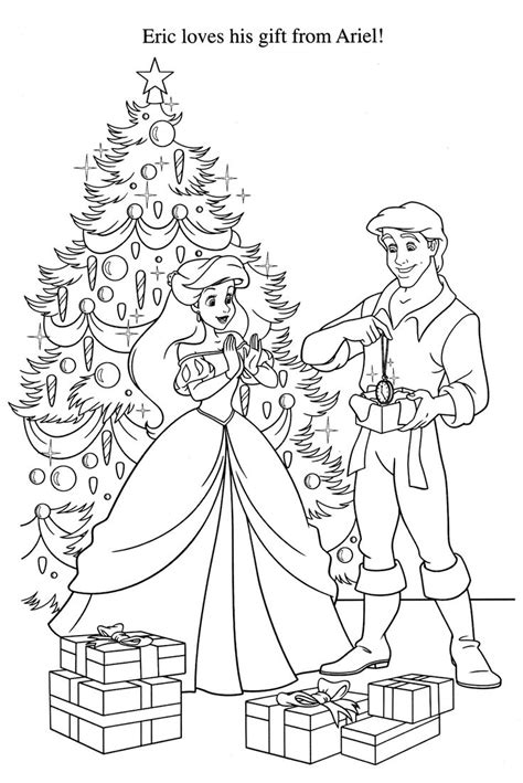 little mermaid christmas disney coloring pages coloring
