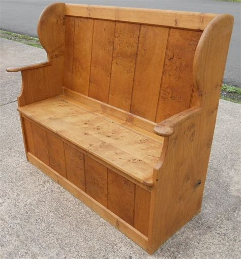 pine hall settle bench storage seat