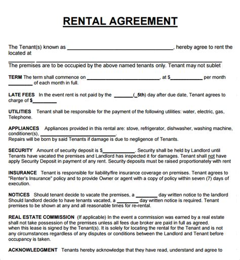 Rental Template Agreement 20 rental agreement templates word excel pdf formats