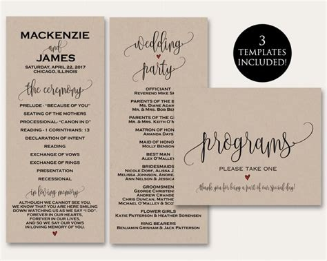 programs for wedding ceremony template ceremony programs ceremony program template wedding
