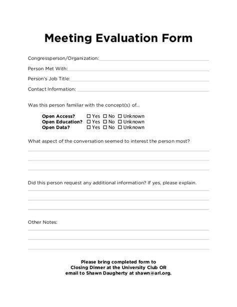 Meeting Evaluation Form Template by Advocacy Day Meeting Evaluation Form