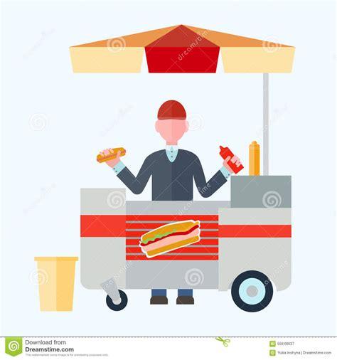 grafik design vendor vendor hot dogs flat vector illustration for your design