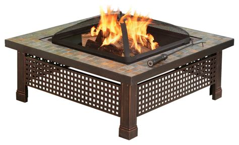 Gas Pit Table With Lid Bradford 34 In Outdoor Slate Pit With Table Lid