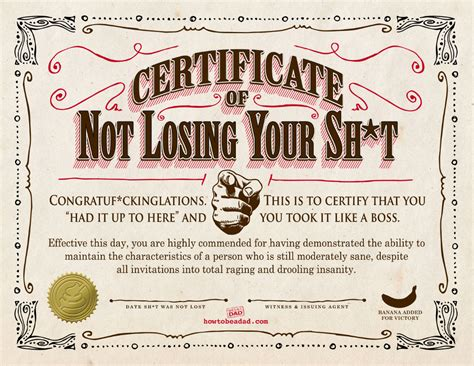your certificate of not losing your sh t certificate