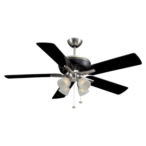 Black Ceiling Fans With Light Shop Harbor Tiempo 52 In Brushed Nickel Black Downrod Mount Ceiling Fan With Light Kit At