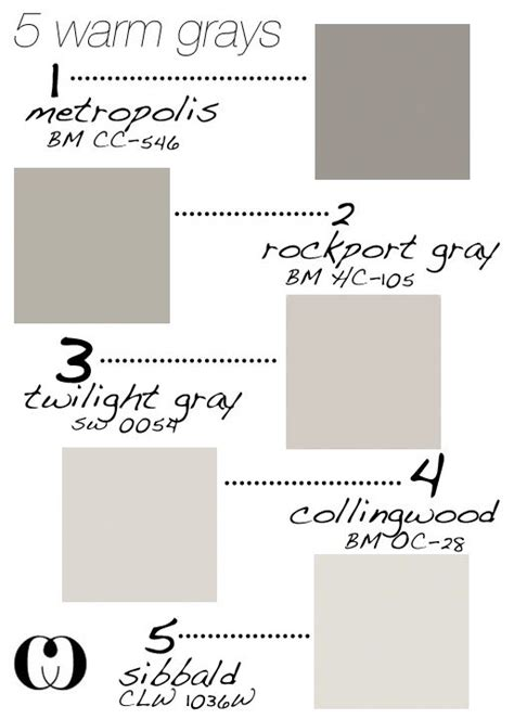 5 warm grays add to that behr silver drop and glidden silver birch for my house